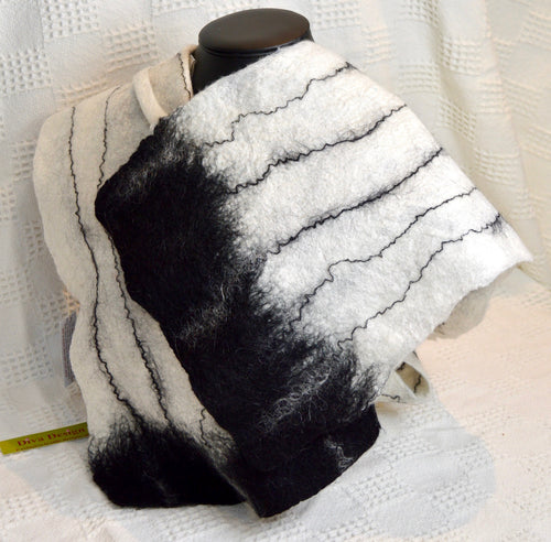 Scarf. Handmade wet felted Merino.By Diva design. (one off) Black & White(39SWM)