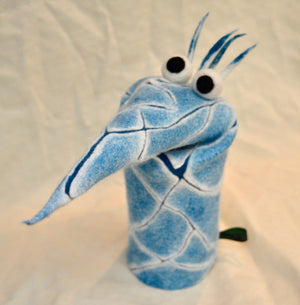 Puppet. Light blue coloured felt. Pointy Nose. By Woolly Felt Design (79GP4)