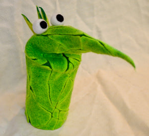 Puppet. Green coloured felt. Pointy Nose. By Woolly Felt Design (79GP5)