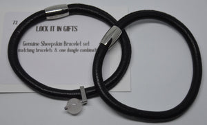 Bracelet. 2 genuine sheepskin bracelet, with a dangle bead (on 1 bracelet)Lock It In Gifts.  (722)