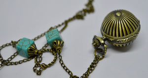 Necklace. With globe locket time-piece. Steam Punk Jewellery from Countless Crafts. WN4