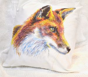 Pillow. Fox print. By Between the woods & sea. With Pillow pad. (91FP1)