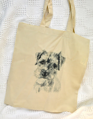 Tote Bag. Natural colour. Border Terrier print. By Between the woods & sea. 91TB1