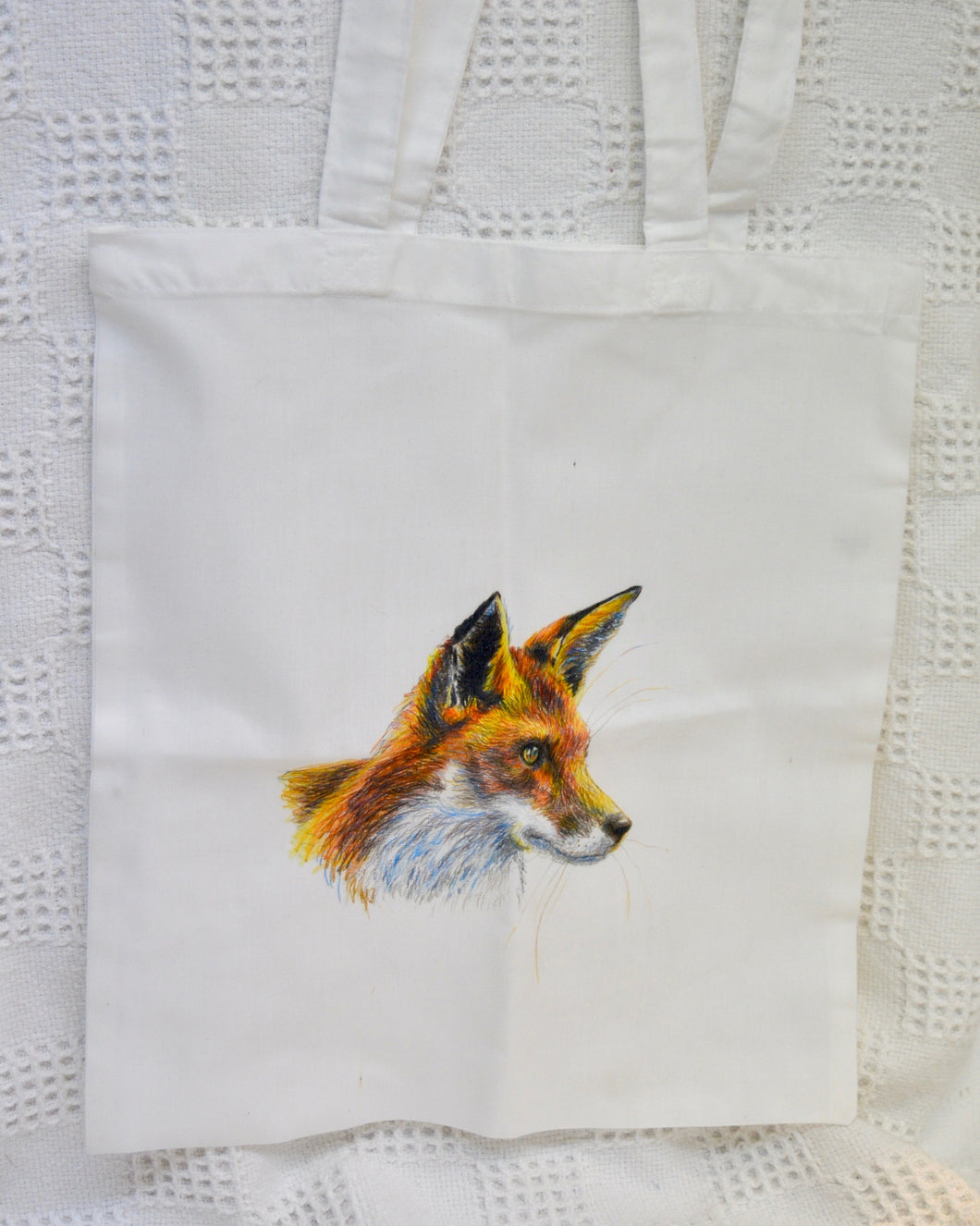 Tote Bag. White. Fox print. By Between the woods & sea. 91TFW1
