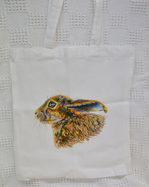Tote Bag. White. Hare print. By Between the woods & sea. 91THW1