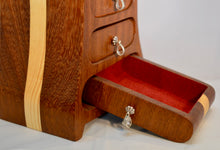 Box. Cracked, chest of drawers by Adnil Crafts. (Burgundy lined)(19L2)