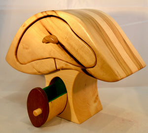 Box. Large Mushroom, style,chest of drawers by Adnil Crafts. (Green lined)(19Y5)
