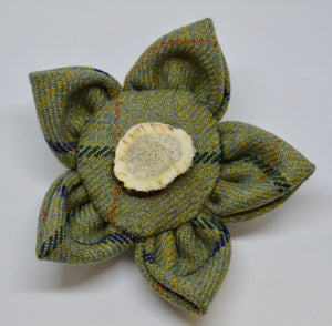 "Brooch by The Beez Neez. ""Flower"". Johnstones Tweed & slice of antler. (4B291)"