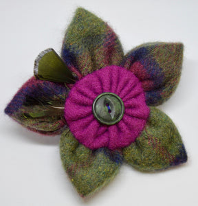 "Brooch by The Beez Neez. ""Cashmere / feather & vintage button"".  (4B287)"