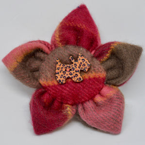 "Brooch by The Beez Neez. ""Cashmere flower with Scotty dog button"".  (4B286)"