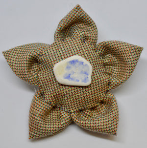 "Brooch by The Beez Neez. ""Johnstons Fabric & Sea pottery"".  (4B234)"
