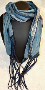 Scarf. Hand made scarf by Diva design. Blue. (NC39SB1)