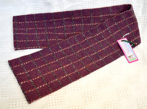 Scarf. Pure cashmere. Burgundy/ blue check. By Patchwork Cat. (77PCSCARF3)