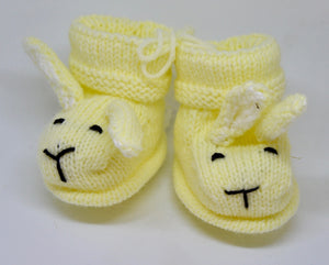 Baby Bunny Booties (Yellow) by Sandra Cramb.