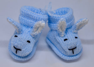 Baby Bunny Booties (Blue) by Sandra Cramb.