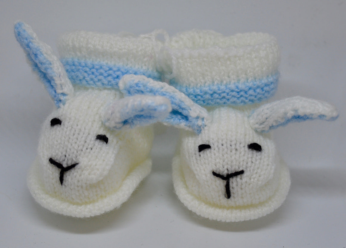 Baby Bunny Booties (White & Blue) by Sandra Cramb.