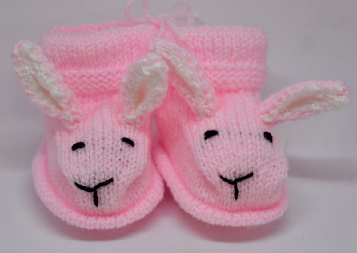 Baby Bunny Booties (Pink) by Sandra Cramb.