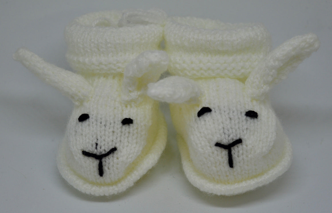 Baby Bunny Booties (White) by Sandra Cramb.