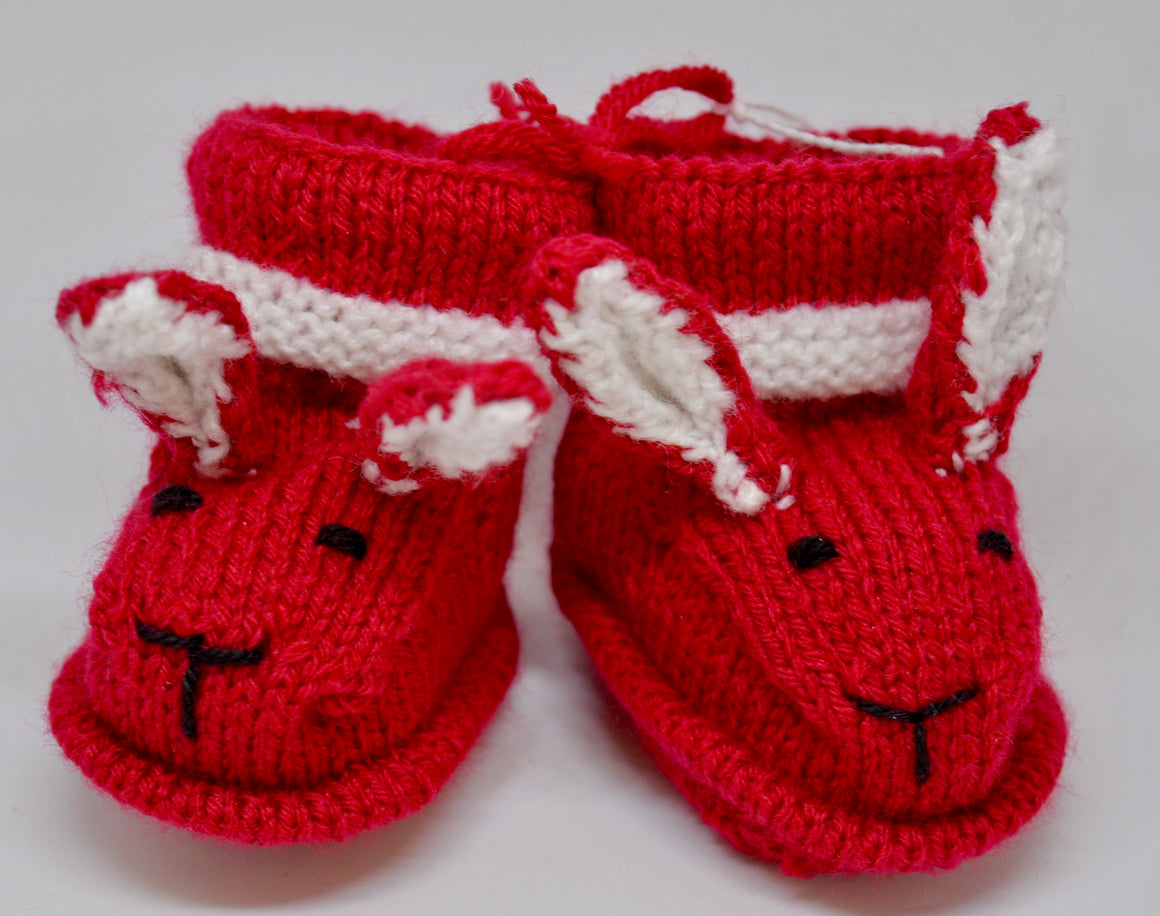 Baby Bunny Booties (Red) by Sandra Cramb.