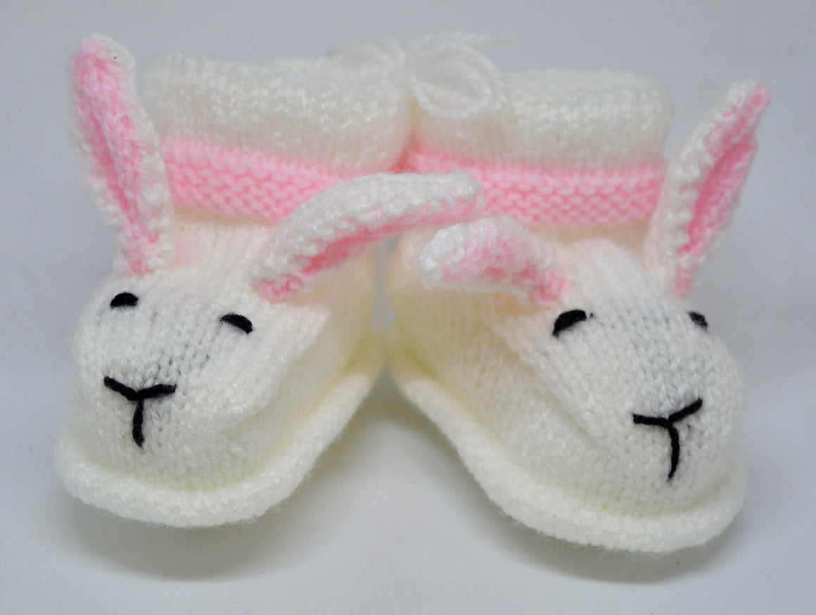 Baby Bunny Booties (White & pink) by Sandra Cramb.