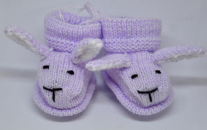 Baby Bunny Booties (Lilac) by Sandra Cramb