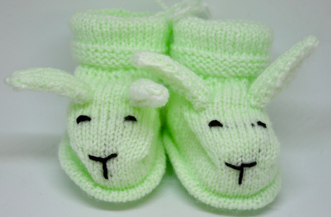 Baby Bunny Booties (Mint) by Sandra Cramb.