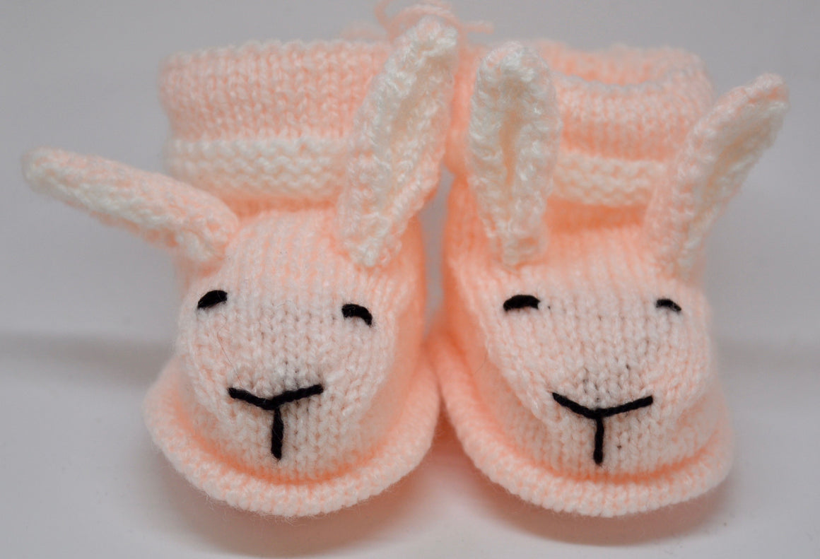 Baby Bunny Booties (Peach) by Sandra Cramb