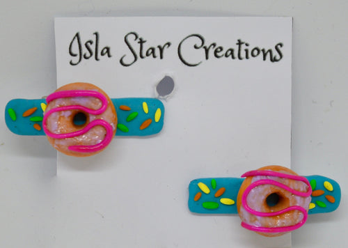 Hair clips. Donuts. By Isla Star Creations.  (132HC1)