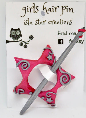 Hair pin. Star pink/silver by Isla Star Creations. (132HP7)