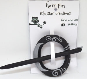 Hair pin. Pink/silver by Isla Star Creations. (132HP6)