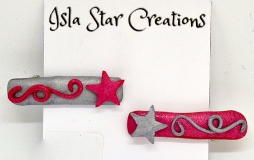 Hair clips. Shooting Stars-Pink & silver By Isla Star Creations.  (132HC8)