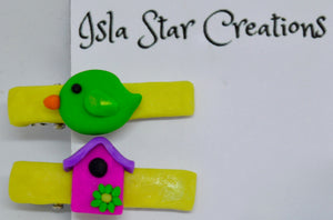 Hair clips. Bird & House (yellow) By Isla Star Creations.  (132HC6)