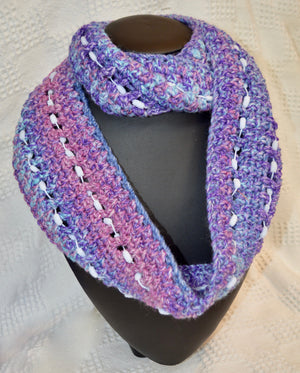 Scarf / Infinity Bobble Scarf by Safe Haven. Purple /Blue. (98SV050)