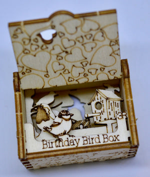 Pop Up Wooden 3D Card. Box silhouette. Happy Birthday Bird Box. 1.
