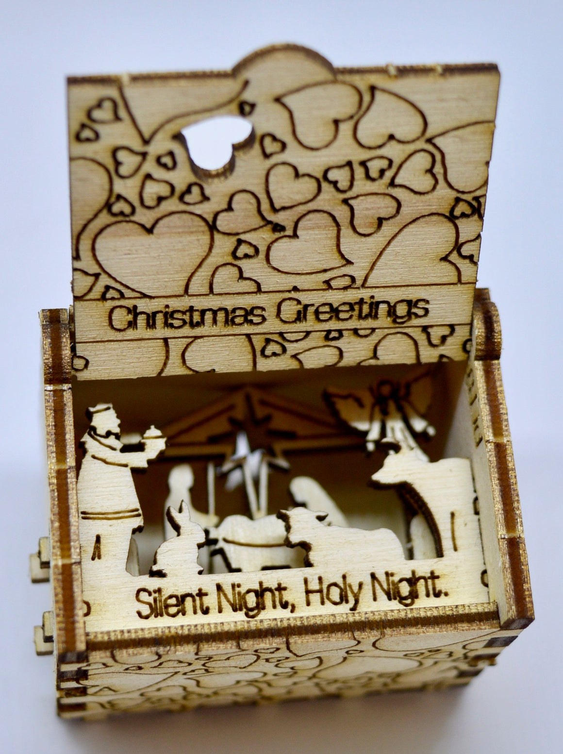 Pop Up Wooden 3D Card. Box silhouette.Christmas Greetings Box.3.