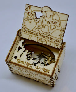 Pop Up Wooden 3D Card. Box silhouette.Christmas Peace to you Box.4.
