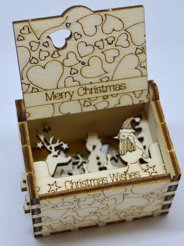 Pop Up Wooden 3D Card. Box silhouette.Merry Xmas, Christmas Wishes. Box.5.
