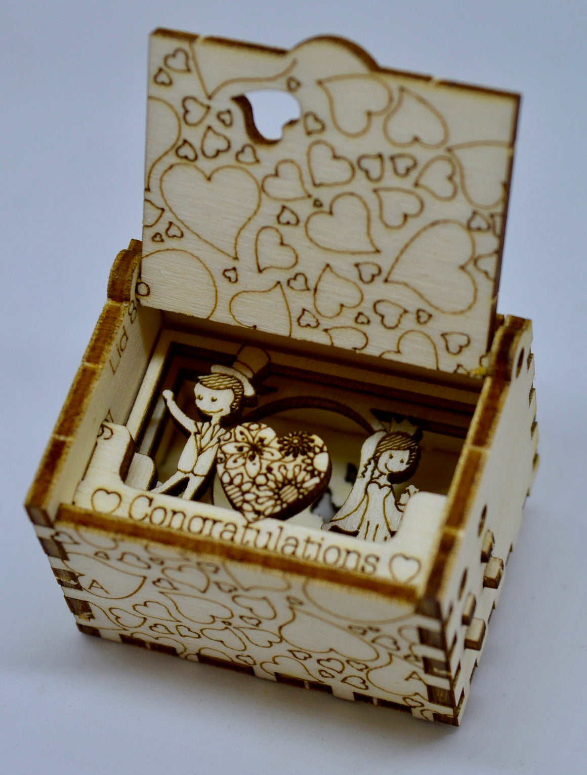 Pop Up Wooden 3D Card. Box silhouette.Congratulations. Box.6.