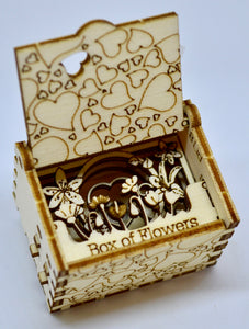 Pop Up Wooden 3D Card. Box silhouette.Box of flowers. Box.7.