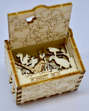 Pop Up Wooden 3D Card. Box silhouette.Forest Box. Box.9.