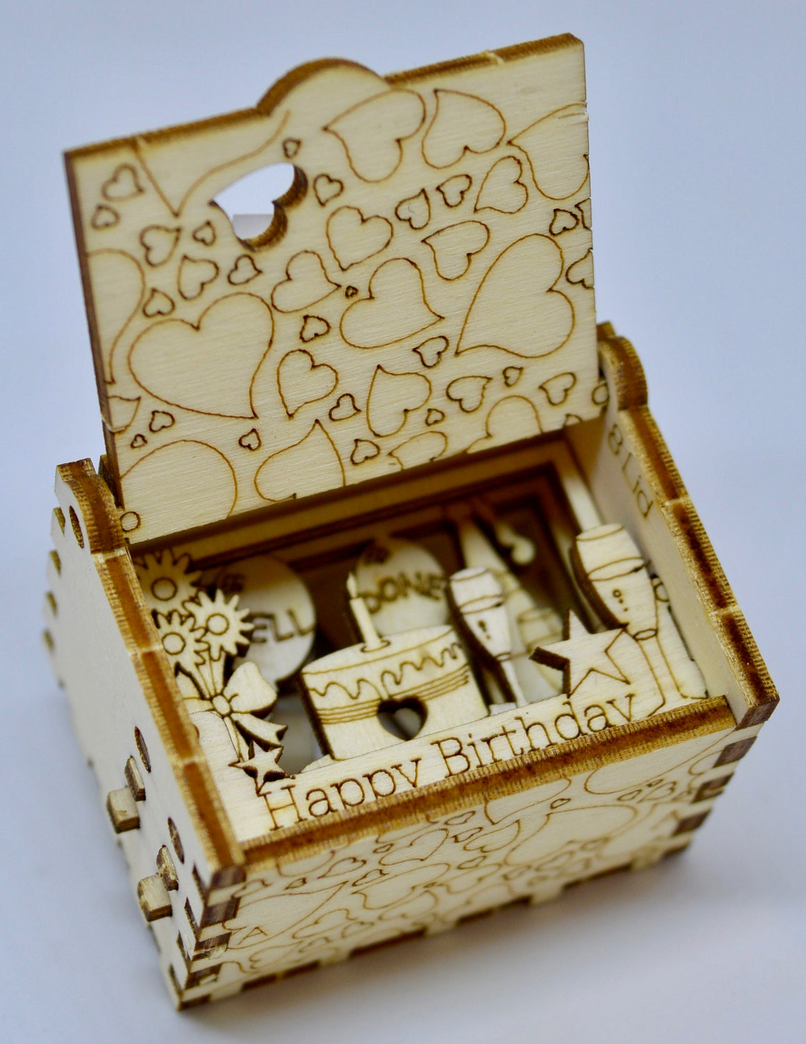 Pop Up Wooden 3D Card. Box silhouette.Happy Birthday. Box.10.