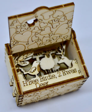 Pop Up Wooden 3D Card. Box silhouette.H' Bee Birdie 2 Ewes Deer. Box.11.