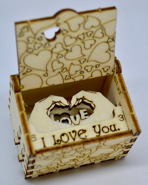 Pop Up Wooden 3D Card. Box silhouette. I Love You. Box.13.