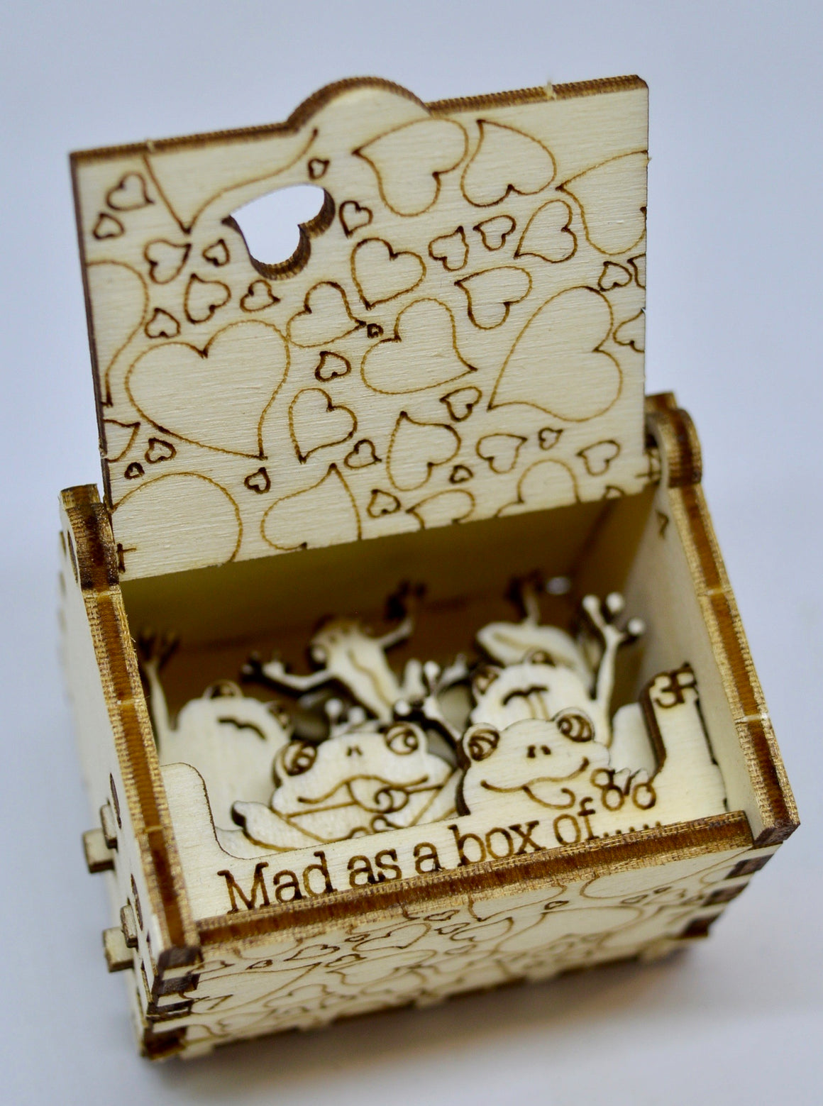 Pop Up Wooden 3D Card. Box silhouette. Mad as a box of frogs. Box.14.