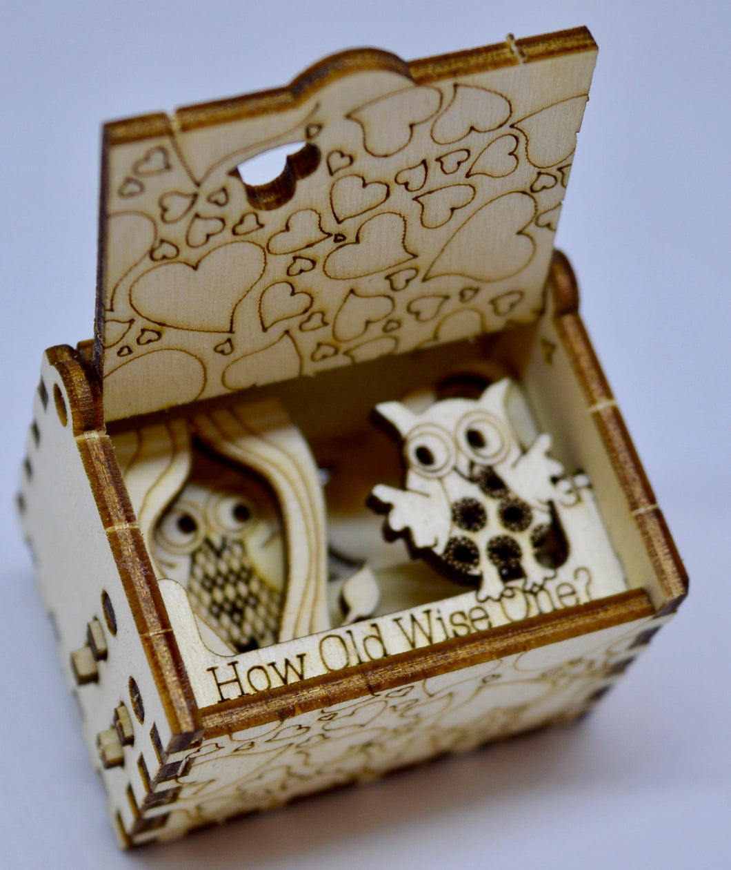 Pop Up Wooden 3D Card. Box silhouette.How old? Wise one. Box.15.