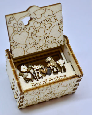 Pop Up Wooden 3D Card. Box silhouette.Box of Puffins. Box.16.