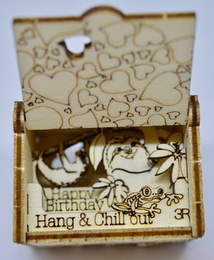Pop Up Wooden 3D Card. Box silhouette.Happy Birthday, Hang & Chill Out!. Box.18.