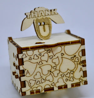 Pop Up Wooden 3D Card. Box silhouette.Lots of Thank ewes. Box.19
