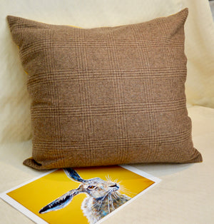 Cushion. Hare. Yellow Ochre Cotton front. Brown Tweed Back. Applique (OHBC1)