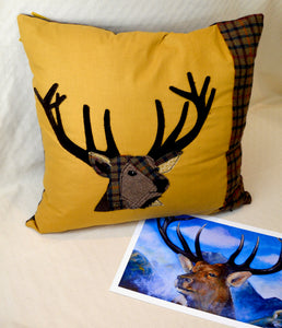 Cushion. Stag. Applique. Yellow ochre cotton front. Brown checked tweed back (OSBC1)